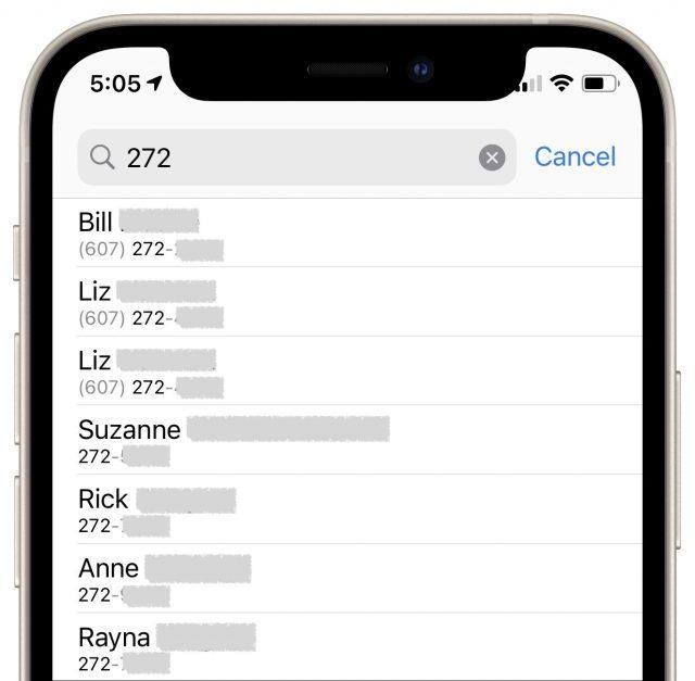 Voorbeelden van zevencijferige nummers in Contacten
