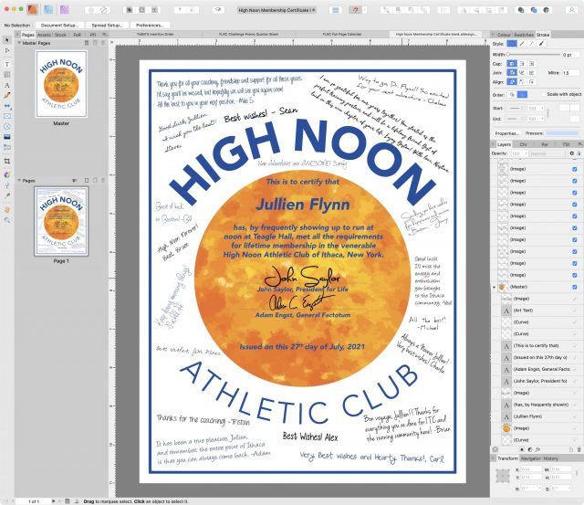 High Noon certificaat in Affinity Publisher