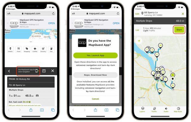 Routenavigatie met MapQuest op een iPhone