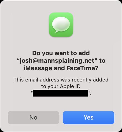 Verzoek om het nieuwe adres ook aan iMessage en FaceTime toe te voegen