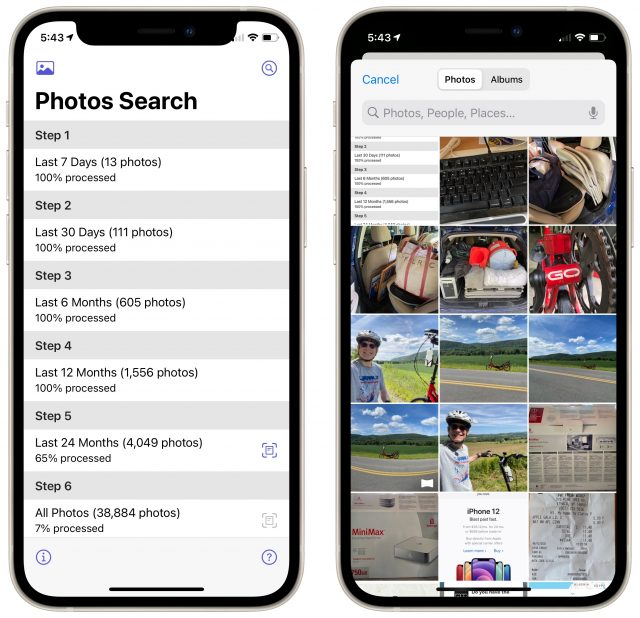 Photos Search scanning on iPhone