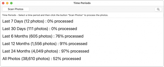 Photos Search scan time period