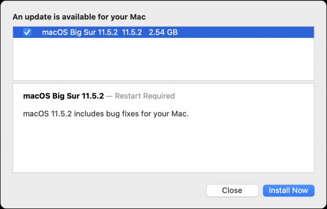 toelichting bij macOS 11.5.2 update