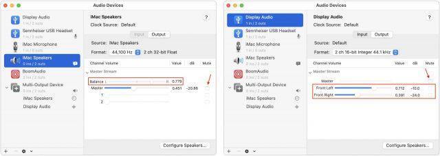 Adjusting balance in Audio MIDI Setup