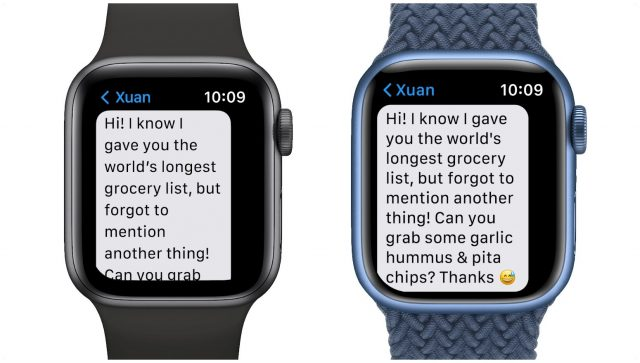 How much text fits on the new Apple Watch vs. the old one