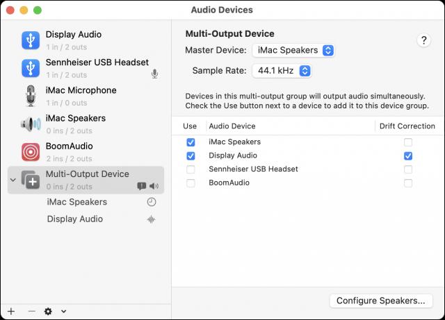 Audio MIDI Setup showing a Multi-Output Device