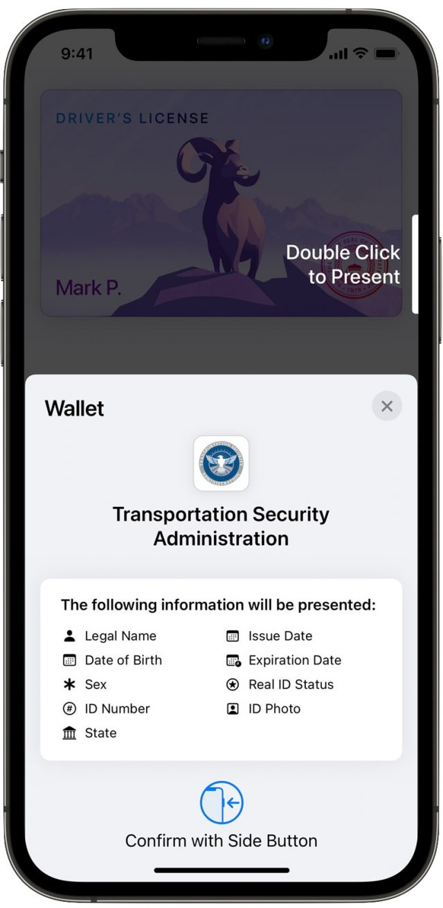 Sharing ID with the TSA on an iPhone