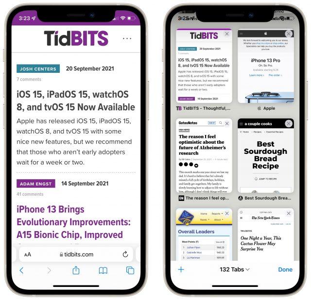 Safari in iOS 15