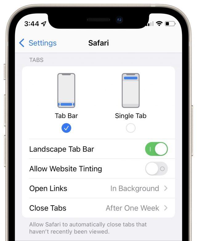Safari setting for putting the Tab Bar back on top