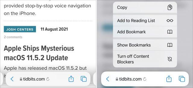 Safari in the iOS 15 beta