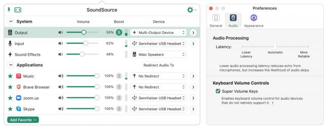 SoundSource interface and preferences