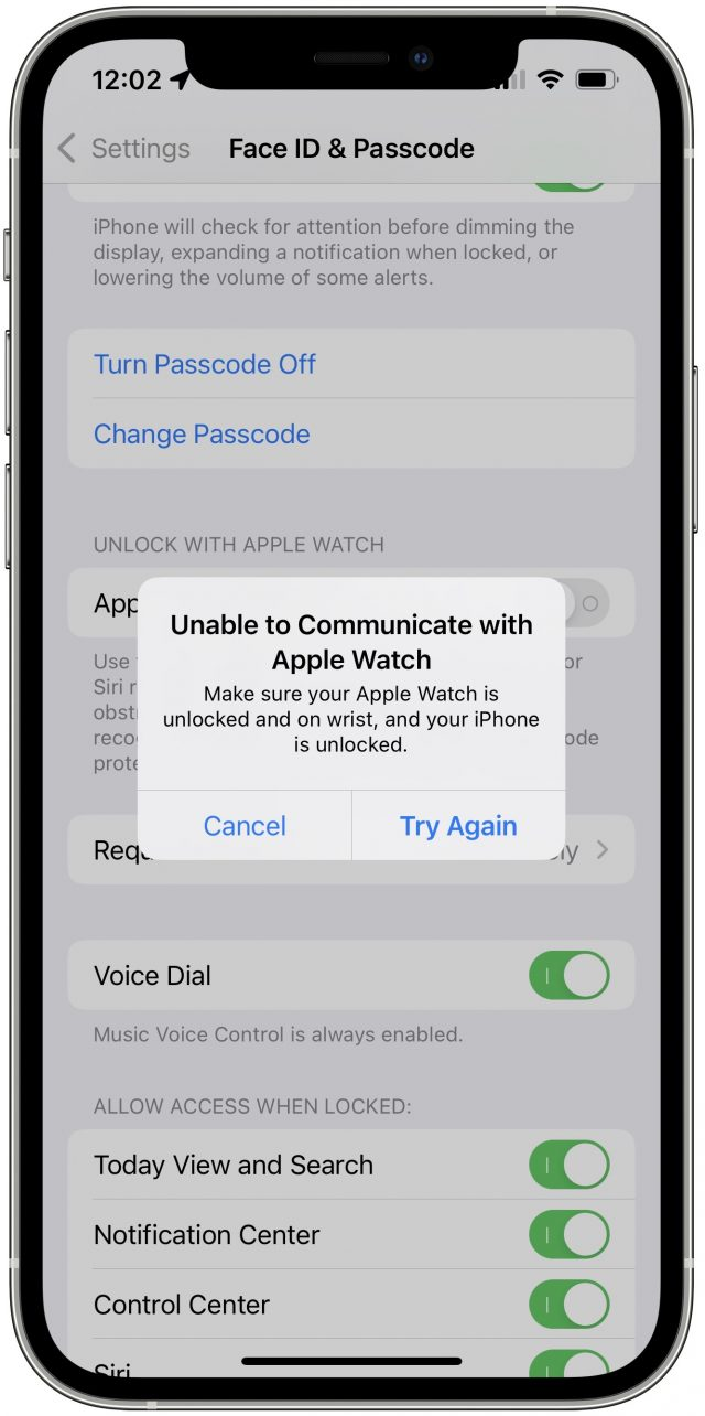 Unlock with Apple Watch error for iPhone 13