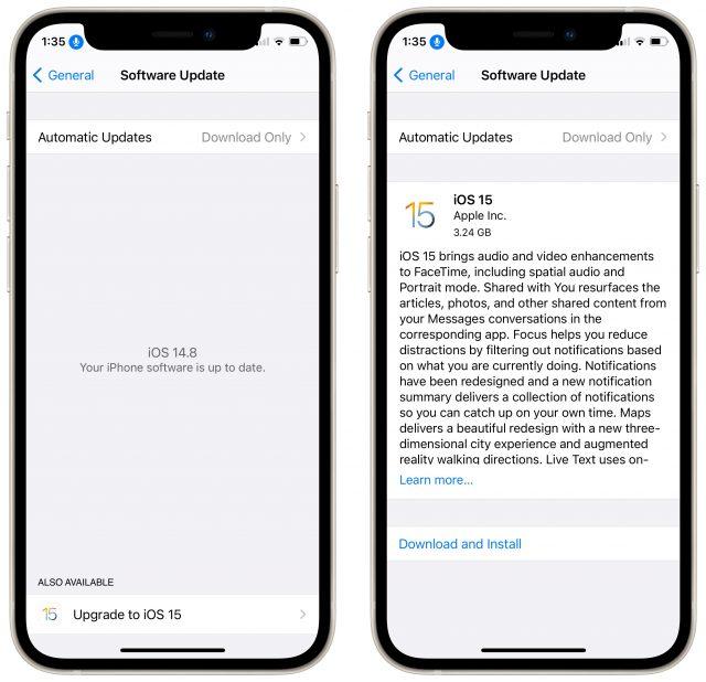 iOS 15 update process