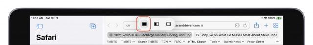 iPadOS 15 multitaskingmenu met het pictogram voor volledig scherm