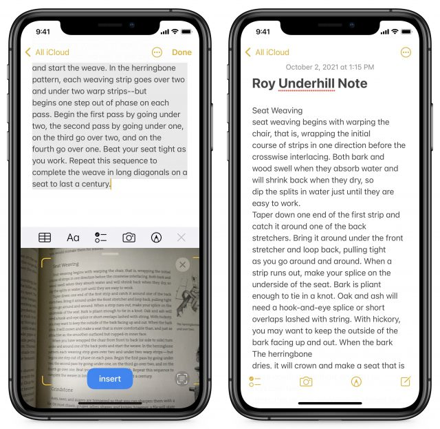 Scanning text