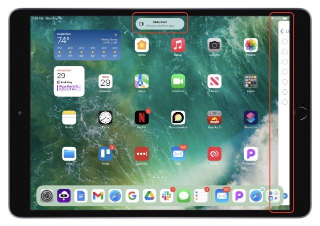 Schakelen naar een Slide Over venster met het Multitasking-menu