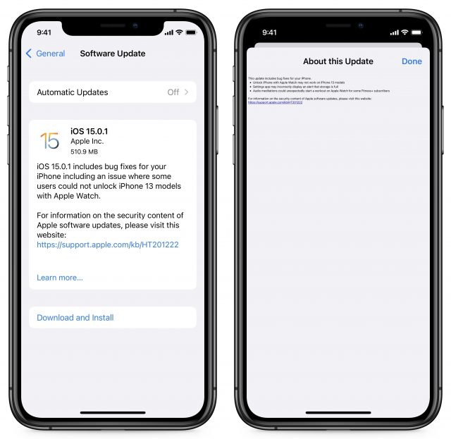 iOS 15.0.1 release notes